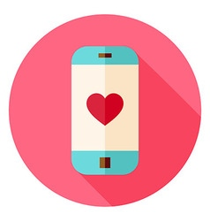 Smartphone with Love Heart Sign Circle Icon vector