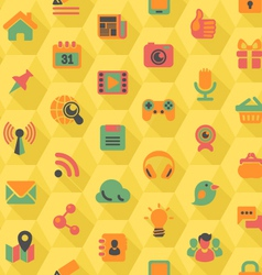 Social Networking Hexagon Yellow Pattern vector