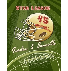 Star League Graphic with Helmet and Football vector image