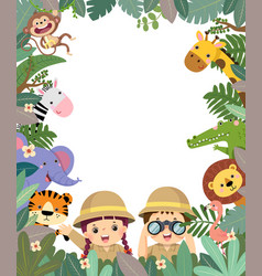 template with girl and boy with animals vector image