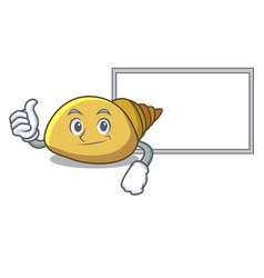 Thumbs up with board mollusk shell character vector