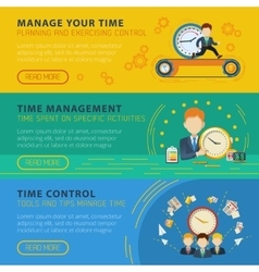 Time Management Horiizontal Banners Set vector