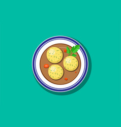 Top view delicious matzoh ball soup vector
