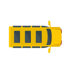 top view school mini bus icon flat style vector image