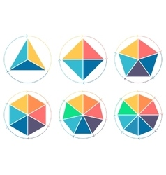 Triangle square pentagon hexagon heptagon vector