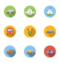 Types of transport icons set flat style vector