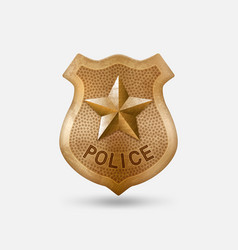 vintage bronze police badge with star vector image