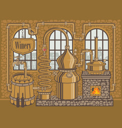 winery plant for the production of wine vector image