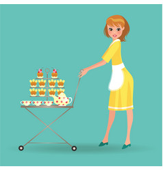 woman in white apron serves cookies on trolley vector image