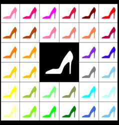 woman shoe sign felt-pen 33 colorful vector image