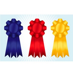 blue red and yellow ribbons vector image