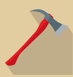 firefighters axe with red handle vector image vector image