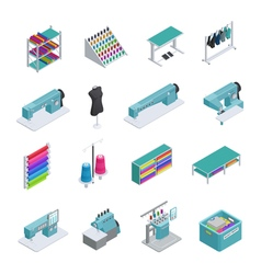 Garment Factory Isometric Icon Set vector image vector image