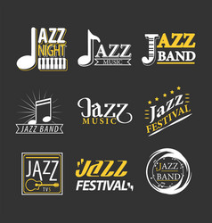 jazz concert logo labels set isolated on black vector image vector image