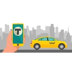 Phone with interface taxi on a screen on a vector image