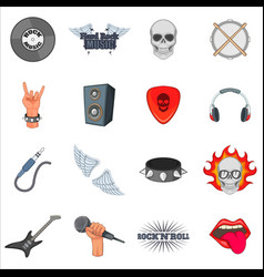rock music icons set cartoon style vector image vector image
