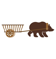 Russian wain and bear Traditional carriage in vector image