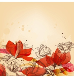 Vintage floral card abstract red flowers vector image vector image