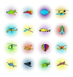 Aviation Icons Set comics style vector image vector image
