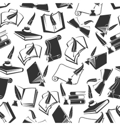 Books and ink quill seamless pattern vector image