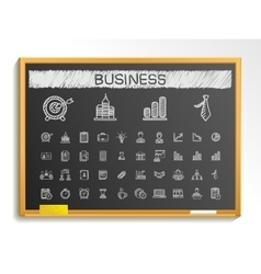 Business hand drawing line icons doodle vector image vector image