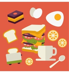 icons set with fresh breakfast food and vector image vector image