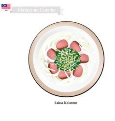 Laksa kelantan or malaysian rice noodle soup vector