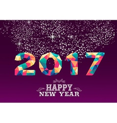 New Year 2017 colorful low poly card design vector image vector image