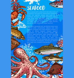 Poster for seafood sketch fish food market vector