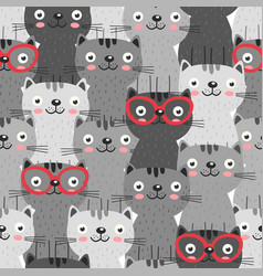 seamless pattern with gray cats in red glasses vector image