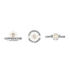 set of coffee logo emblem design templates vector image vector image