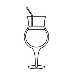summer cocktail glass alcohol outline vector image
