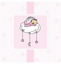 Birth card baby girl vector image vector image