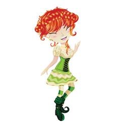 Cute Leprechaun Girl2 vector image vector image