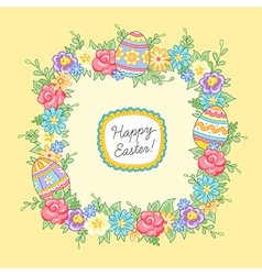 Easter wreath yellow square vector image vector image