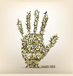 hand tree art vector image