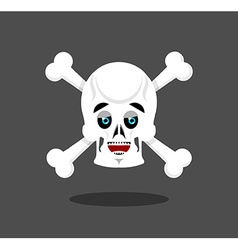 Happy skull emotion crossbones lucky skeleton head vector