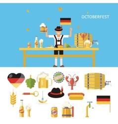 Retro Octoberfest Symbols Beer Alcohol Accessories vector image