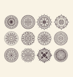 Twelve circular ornaments vector