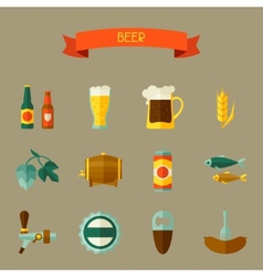 Beer icon and objects set for design vector image vector image