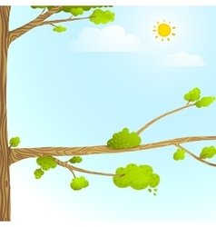 Colorful Nature Cartoon Background with Trees Sun vector image vector image