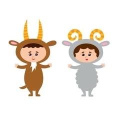 kids wearing animal vector image