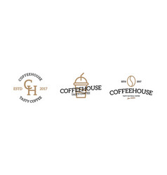 set of coffee logo emblem design on white vector image vector image