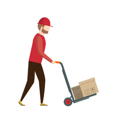 storage worker pushing trolley with boxes vector image