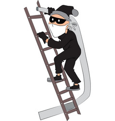 thief with pipe on ladder vector image