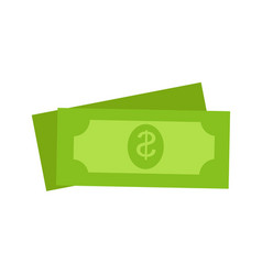 Two green dollars united states money icon set vector
