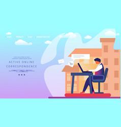Active online correspondence horizontal banner vector
