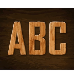 Alphabet made wood abc vector