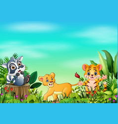Animal cartoons in beautiful gardens with a blue s vector