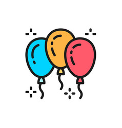 balloons party accessories flat color line icon vector image